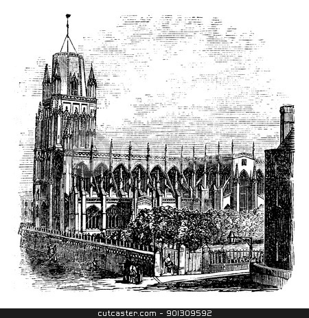 Saint Mary Redcliffe - Anglican church in Bristol, England (Unit stock vector clipart, Saint Mary Redcliffe - Anglican church in Bristol, England (United Kingdom). Vintage Engraving from 1890s. Old engraved illustration of the Saint-Mary Redcliffe. by Patrick Guenette