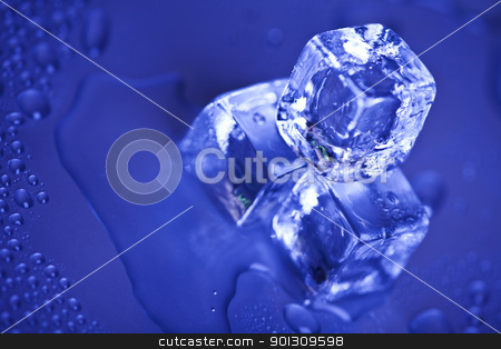 Blue and shiny ice cubes  stock photo, Ice can refer any of the 14 known solid phases of water. However, in non-scientific contexts, it usually describes ice Ih, which is the most abundant of these phases in Earth's biosphere. This type of ice is a soft, fragile, crystalline solid, which can appear transparent or an opaque bluish-white color depending on the presence of impurities such as air. The manufacture and use of ice cubes or crushed ice is common for drinks.  by Sebastian Duda