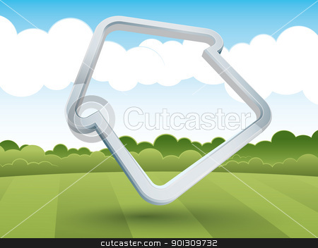 House-shaped frame in the countryside stock vector clipart, House-shaped frame in the countryside by matteogamba