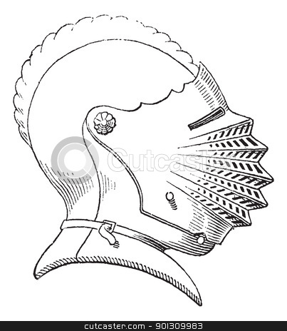 Fifteenth century helmet or galea vintage engraving stock vector clipart, Fifteenth century helmet or galea vintage engraving. Old engraved illustration of helmet worn during the fifteenth century. by Patrick Guenette