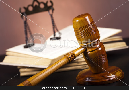 Justice Scale and Gavel stock photo, Law and justice concept in studio. by Sebastian Duda