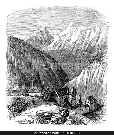 Grande Chartreuse, in the Rhone-Alpes, France, during the 1890s, stock vector clipart, Grande Chartreuse, in the Rhone-Alpes, France, during the 1890s, vintage engraving. Old engraved illustration of the Grande Chartreuse. by Patrick Guenette