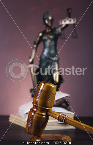 Law theme, mallet of judge! stock photo, Law and justice concept in studio. by Sebastian Duda