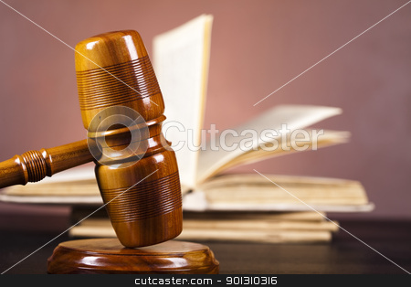 Judges wooden gavel stock photo, Law and justice concept in studio. by Sebastian Duda
