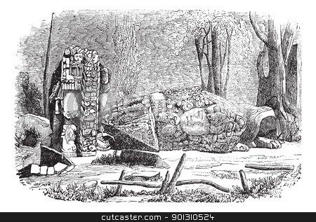 Copan in Honduras vintage engraving stock vector clipart, Copan in Honduras, during the 1890s,vintage engraving. Old engraved illustration of Copan showing stelae sculpture. by Patrick Guenette