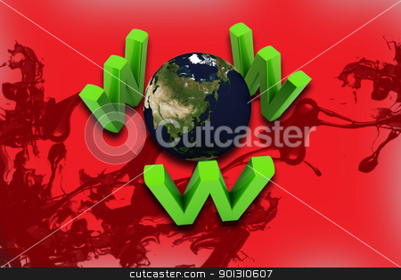 world and www  stock photo,  	Digital illustration of  world and www   in color background by dileep
