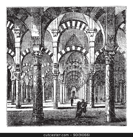 Cathedral-Mosque of Cordoba in Andalusia, Spain, vintage engravi stock vector clipart, Cathedral-Mosque of Cordoba in Andalusia, Spain, during the 1890s, vintage engraving. Old engraved illustration of the interior of the Cathedral-Mosque of Cordoba. by Patrick Guenette
