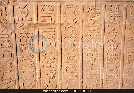Hierogliphic scripts stock photo, Hierogliphic scripts engraved on a wall by ruigsantos