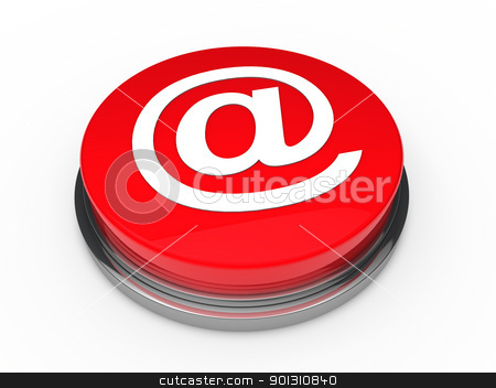 3d button email red  stock photo, 3d button email red mail internet push by d3images