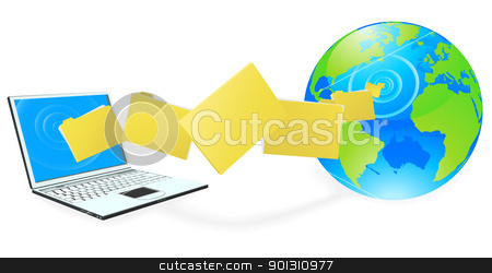 Laptop computer uploading or downloading files stock vector clipart, Laptop computer uploading or downloading files to the internet represented by globe. by Christos Georghiou