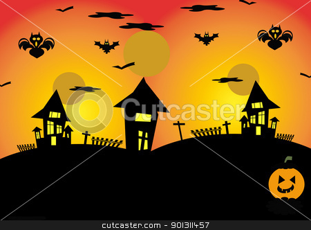 Halloween stock photo, Halloween night background with pumpkin and house  by africa