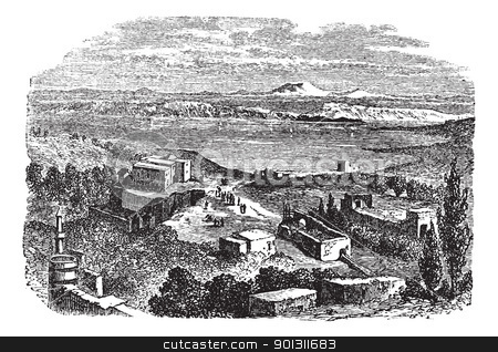 Sea of Galilee or Lake of Gennesaret in Israel vintage engraving stock vector clipart, Sea of Galilee or Lake of Gennesaret or Kinneret or Lake Tiberias, in Israel, during the 1890s, vintage engraving. Old engraved illustration of Sea of Galilee with buildings in front.  by Patrick Guenette