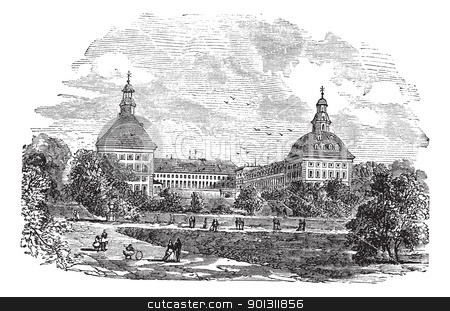 The ducal palace or Schloss Friedenstein in Gotha Germany vintag stock vector clipart, The ducal palace or Schloss Friedenstein or Friedenstein castle, in Gotha, Germany, during the 1890s, vintage engraving. Old engraved illustration of ducal palace with people in front.  by Patrick Guenette
