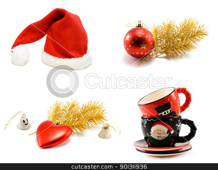 Сollage hat Santa cristmas embellishment stock photo, Сollage hat Santa cristmas embellishment, golden branch and ctramic of the cup on white background. It Is formed from several pictures. by Ruslan Kudrin