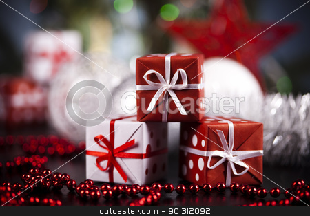 Xmas background stock photo, Photography of baubles and gift connected with Christmas time and Christmas tree. by Sebastian Duda