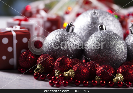 Bauble, Xmas tree   stock photo, Photography of baubles and gift connected with Christmas time and Christmas tree. by Sebastian Duda