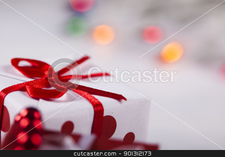 Gift background stock photo, Photography of baubles and gift connected with Christmas time and Christmas tree. by Sebastian Duda