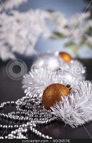 Christmas Tree Baubles    stock photo, Photography of baubles and gift connected with Christmas time and Christmas tree. by Sebastian Duda