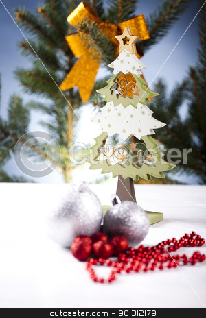 Christmas ball & Cut spruce     stock photo, Photography of baubles and gift connected with Christmas time and Christmas tree. by Sebastian Duda