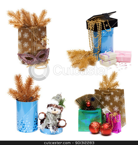 Сollage gift package, box and golden spruce branch stock photo, Сollage gift package, box and golden spruce branch on white background. It Is formed from several pictures. by Ruslan Kudrin