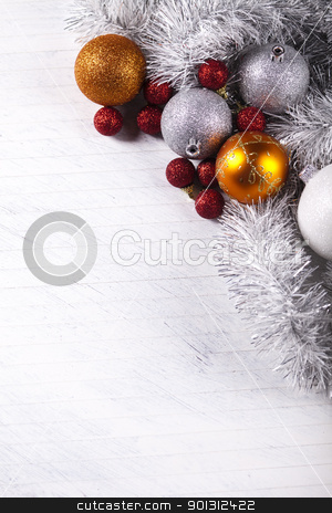 Christmas frame stock photo, Photography of baubles and gift connected with Christmas time and Christmas tree. by Sebastian Duda