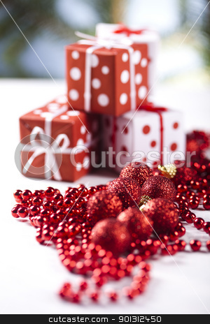Christmas gifts stock photo, Photography of baubles and gift connected with Christmas time and Christmas tree. by Sebastian Duda