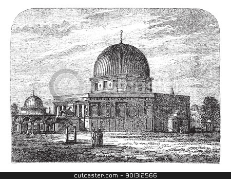Dome of the Rock in Jerusalem Israel vintage engraving stock vector clipart, Dome of the Rock in Jerusalem, Israel, during the 1890s, vintage engraving. Old engraved illustration of Dome of the Rock mosque with people in front. by Patrick Guenette