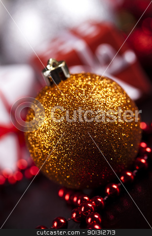 Christmas background with bauble stock photo, Photography of baubles and gift connected with Christmas time and Christmas tree. by Sebastian Duda