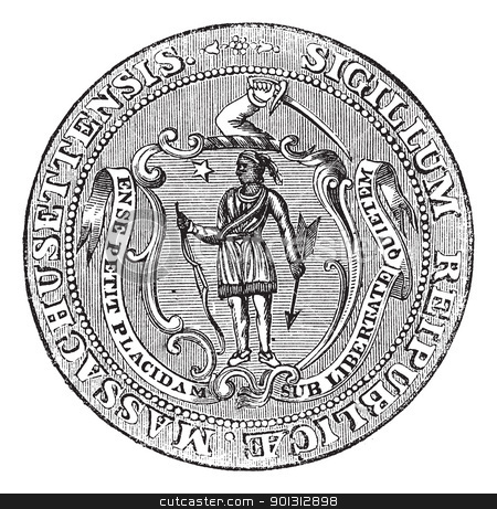 Great Seal of the Commonwealth of Massachusetts or the Seal of t stock vector clipart, Great Seal of the Commonwealth of Massachusetts or the Seal of the Republic of Massachusetts, United States, vintage engraving. Old engraved illustration of Great Seal of the Commonwealth of Massachusetts isolated on a white background. by Patrick Guenette
