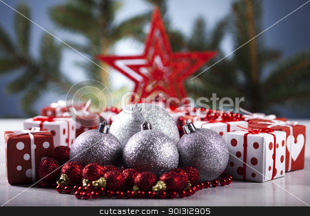 Christmas background with baubles and gift stock photo, Photography of baubles and gift connected with Christmas time and Christmas tree. by Sebastian Duda