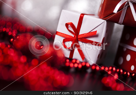 Christmas gift stock photo, Photography of baubles and gift connected with Christmas time and Christmas tree. by Sebastian Duda