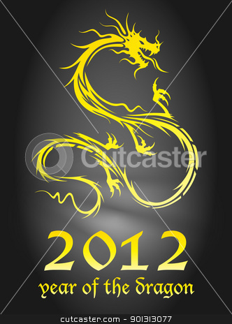 golden dragon stock vector clipart, 2012 year of the dragon poster (EPS10 - Gradient, Transparency) by TheModernCanvas