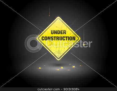 Under Construction Sign stock vector clipart, Yellow under construction sign (EPS10 - Gradient, Transparency) by TheModernCanvas