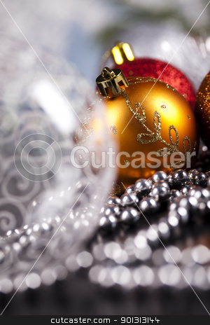 Baubles stock photo, Photography of baubles and gift connected with Christmas time and Christmas tree. by Sebastian Duda
