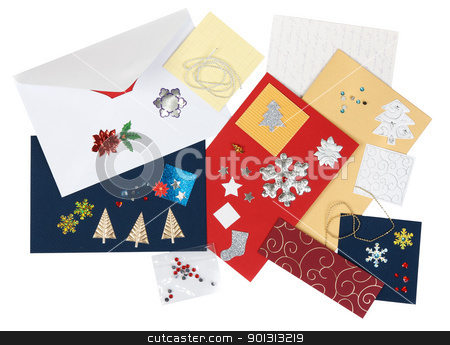 Kit scrapbooking stock photo, Kit scrapbooking with envelopes and colored cardboard by Ruslan Kudrin