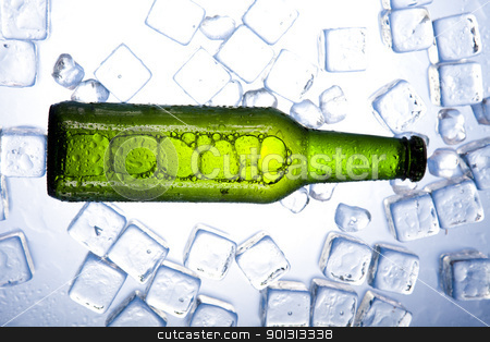 Three fresh beer with ice  stock photo, Beer collection, glass in studio. by Sebastian Duda