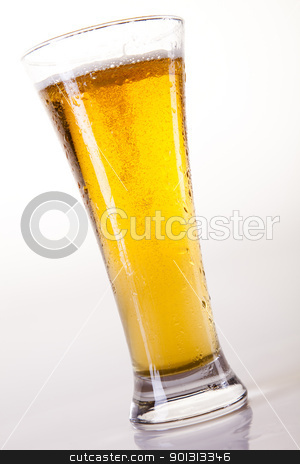 Glass of beer on a white background  stock photo, Beer collection, glass in studio. by Sebastian Duda