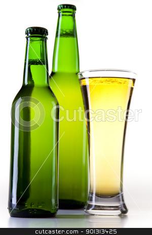 Green bottle of beer  stock photo, Beer collection, glass in studio. by Sebastian Duda