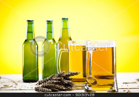 Green bottle of beer  stock photo, Beer collection, glass in studio. by Sebastian Duda
