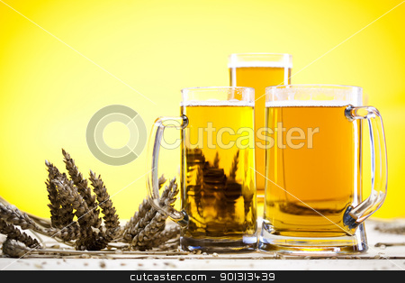 Glass of beer with grain   stock photo, Beer collection, glass in studio. by Sebastian Duda