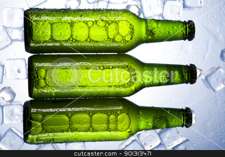 Beer is in ice stock photo, Beer collection, glass in studio. by Sebastian Duda
