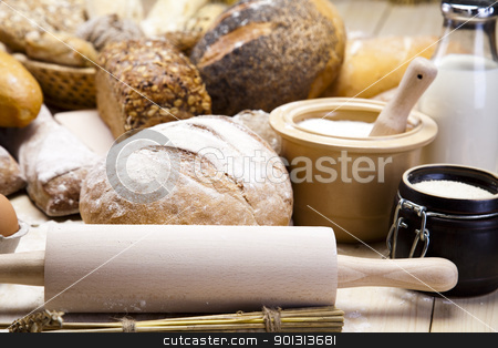 Compositions bread stock photo, Still-life assortment of baked bread. by Sebastian Duda