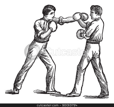 Two Boxers boxing vintage engraving stock vector clipart, Two Boxers, boxing, vintage engraving. Old engraved illustration of two boxers showing how to make first blow and how to deal with it. by Patrick Guenette