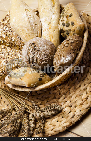 Bread stock photo, Still-life assortment of baked bread.  by Sebastian Duda