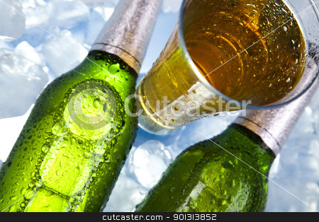 Cold beer bottle stock photo, Beer collection, glass in studio. by Sebastian Duda