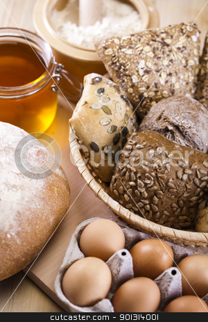 Variety of bread  stock photo, Still-life assortment of breakfast. by Sebastian Duda