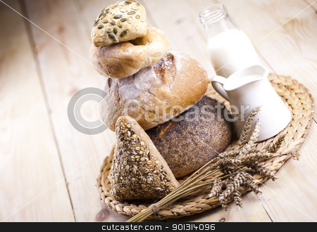 Still-life assortment of baked bread stock photo, Still-life assortment of baked bread. by Sebastian Duda