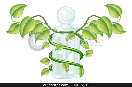 Natural caduceus bottle concept stock vector clipart, Natural caduceus bottle concept, could be homoeopathy bottle or other natural remedy. by Christos Georghiou