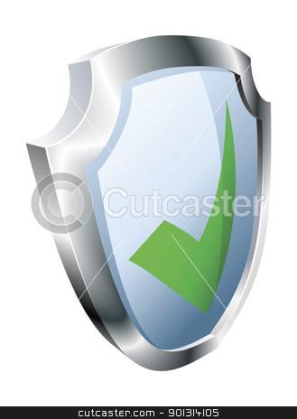 Tick shield security concept stock vector clipart, Tick shield security concept. Shield with green tick icon.  by Christos Georghiou