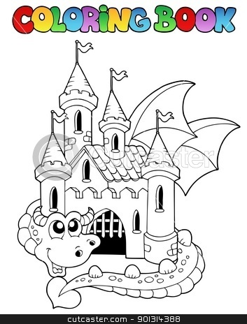 Pin big castle colouring pages on pinterest for Dragon and castle coloring pages